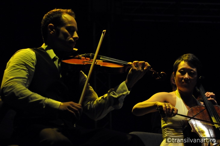 Violonist and cello player on the stage