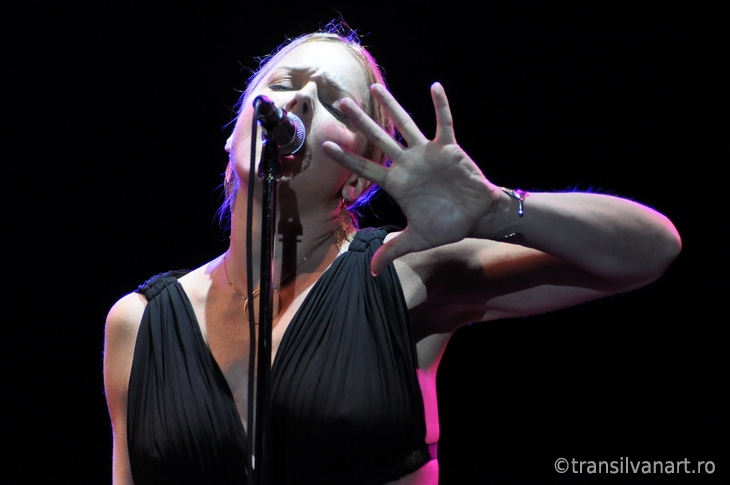 Vocalist from Pink Martini band performs live on the stage