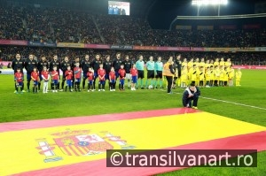 National Football Team of Spain and Romania pose for a group pho