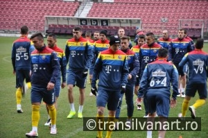 National Football Team of Romania during a training session agai