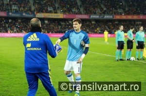 Iker Casillas at the beginning of Spain vs Romania soccer match