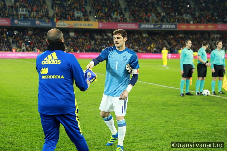Iker Casillas at the beginning of Spain vs Romania soccer match