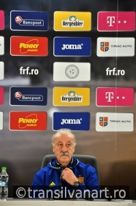 Vicente del Bosque during a press conference berfore Romania - S