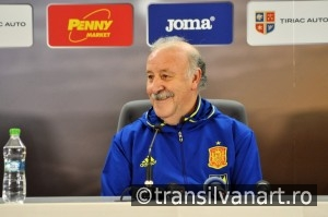 Vicente del Bosque during a press conference berfore Romania - S