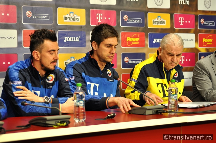 The coach and players of Romania's National Football Team during