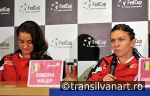 Romanian tennis player Simona Halep and Monica Niculescu during
