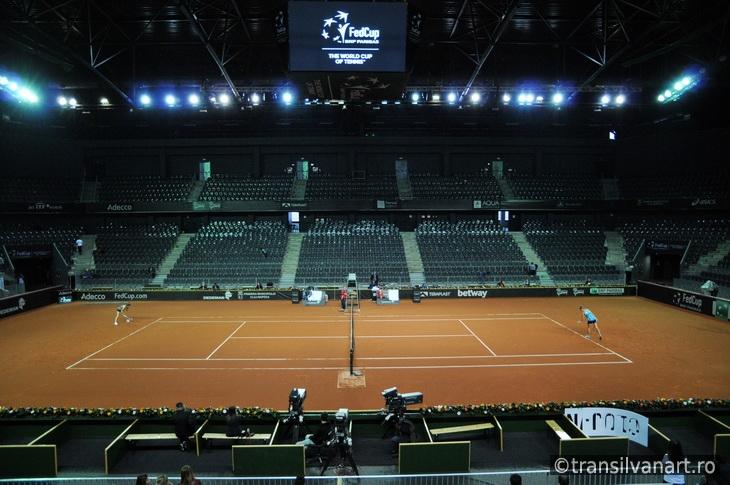 Tennis match in a indoor stadium