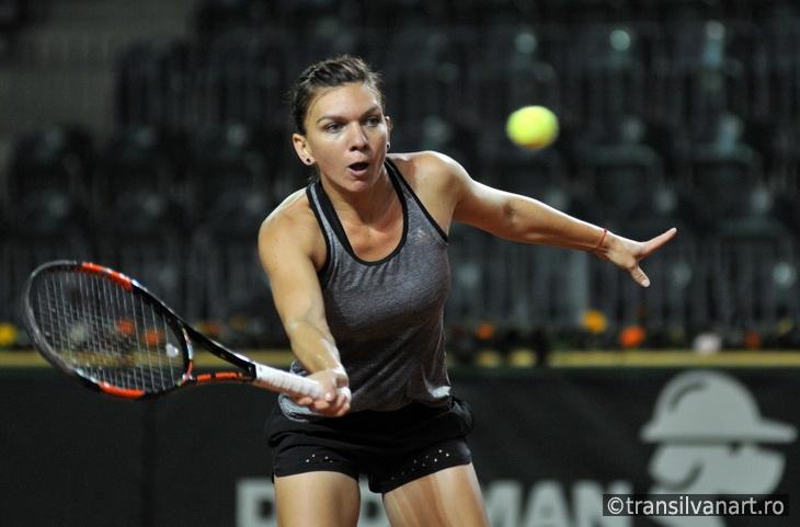 Tennis player Simona Halep training before a match