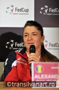Romanian tennis player Alexandra Dulgheru during a press confere