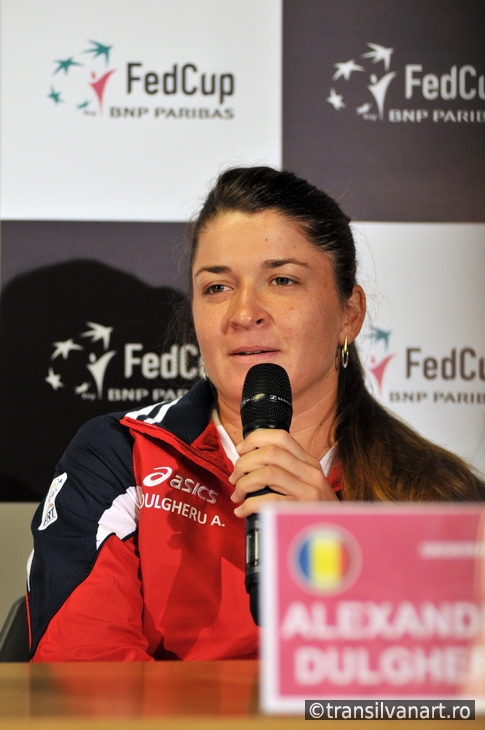 Romanian tennis player Alexandra Dulgheru during a press confere