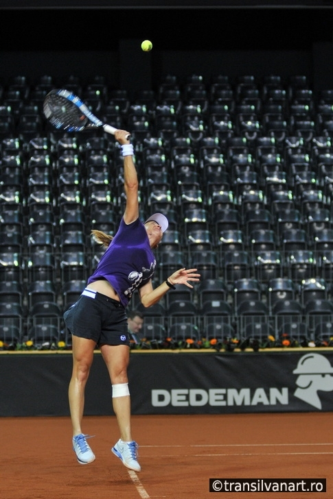 Tennis player Alexandra Dulgheru training before a match