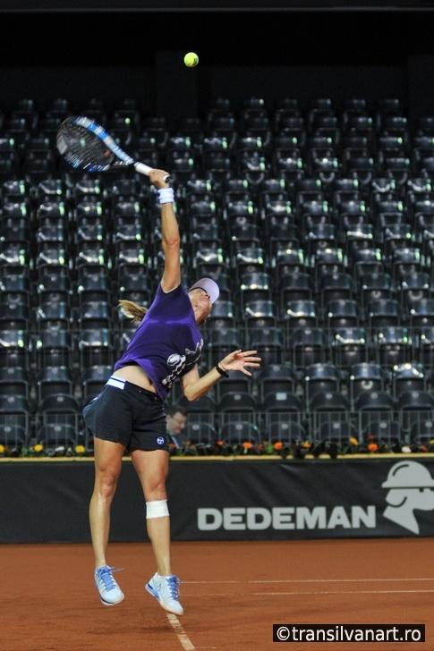 Tennis player Alexandra Dulgheru training before a match
